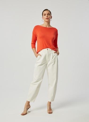 Monamoda Slouchy Fit Yüksek Bel Jean Pantolon Beyaz